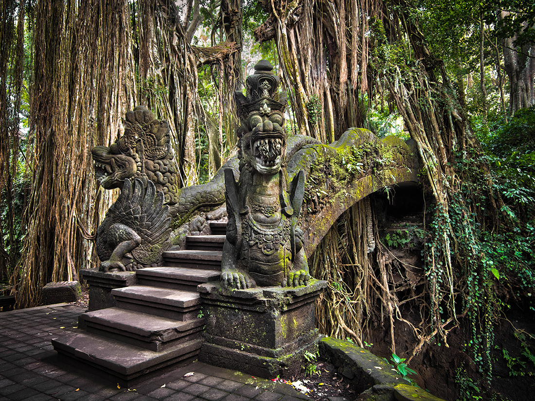 Famous dragon bridge in Monkey Forest Sanctuary in Ubud, Bali, Indonesia
