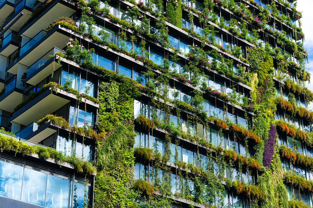 Skyscraper with plants growing on the facade, Sydney, Australia