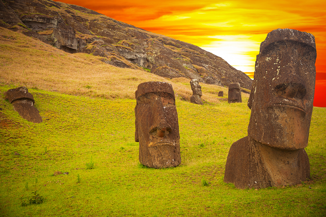 Moais at Ahu Tongariki, Easter island, Chile