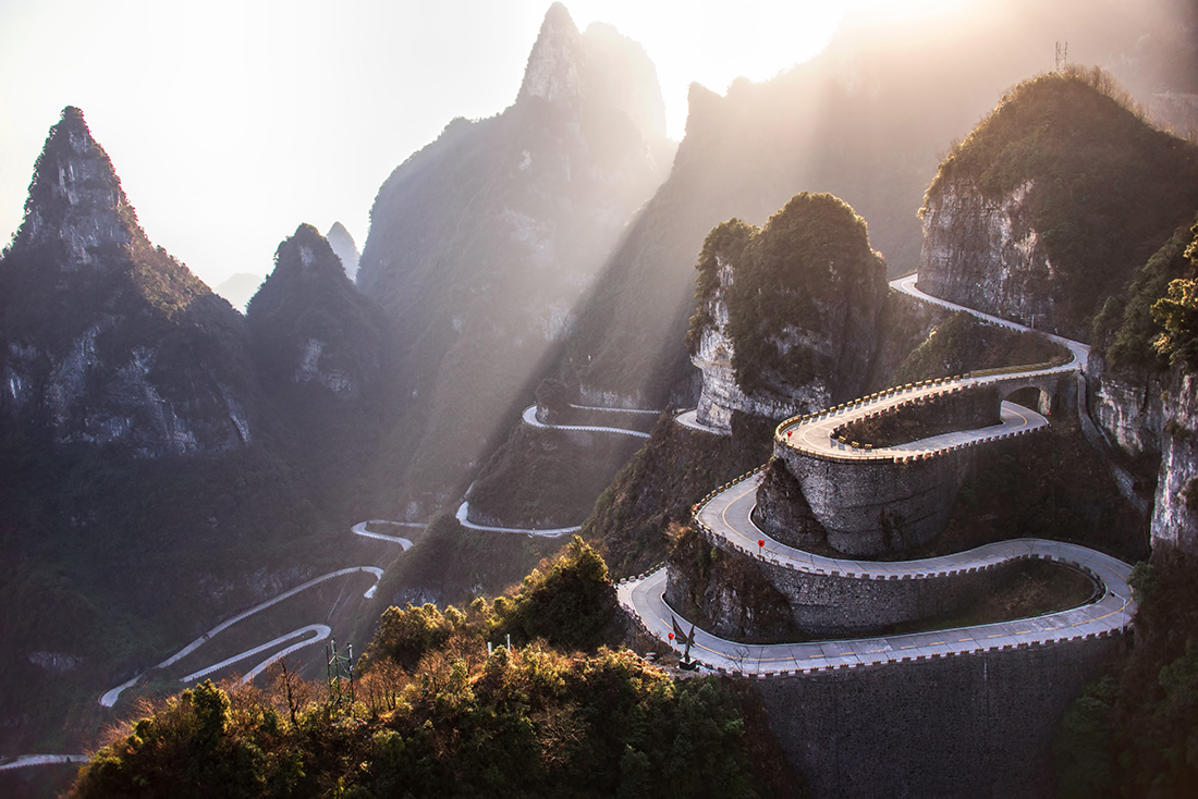 Winding road, Hunan province, China
