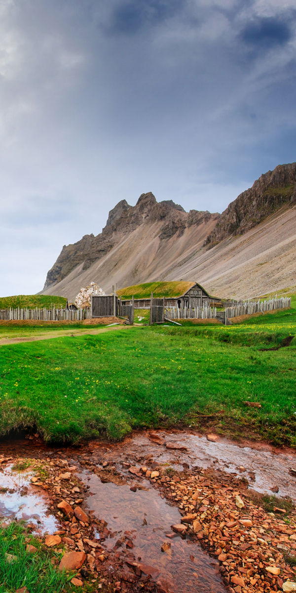 Wooden houses with grass roof, Iceland