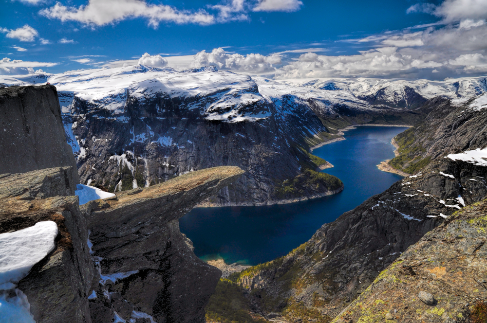 Trolltunga and the fjord underneath, Norway