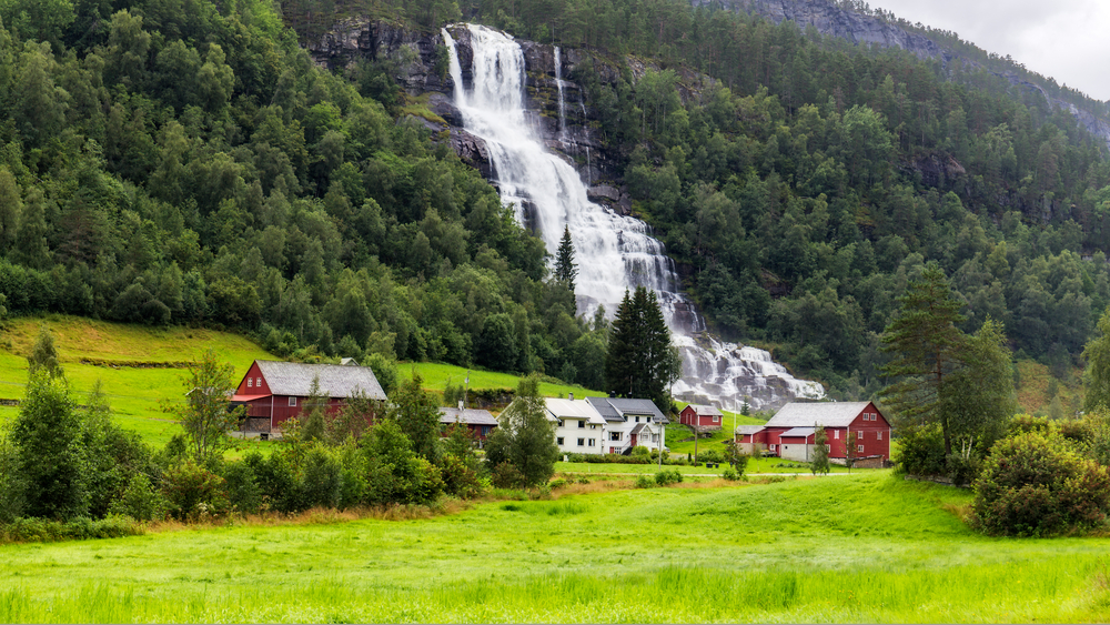 Tvindefossen waterfall in Voss, Norway