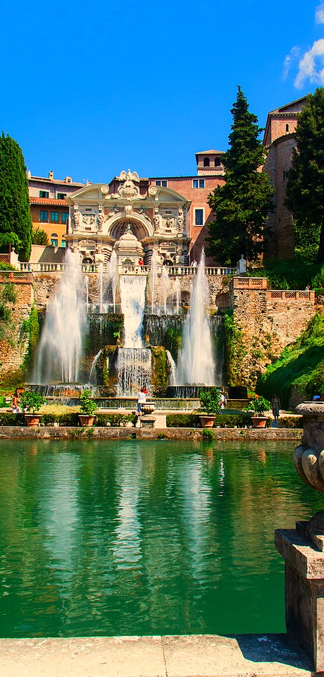 Fountains in Villa d'Este gardens, Tivoli, Italy