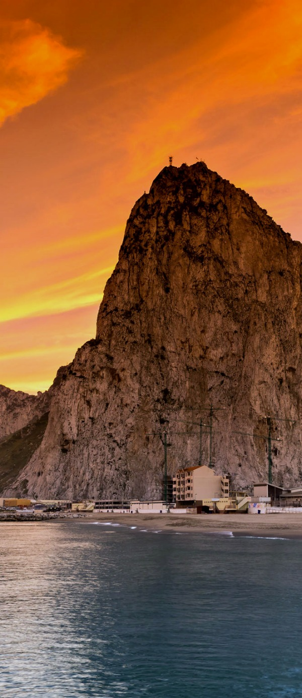 The rock of Gibraltar seen from the bayside