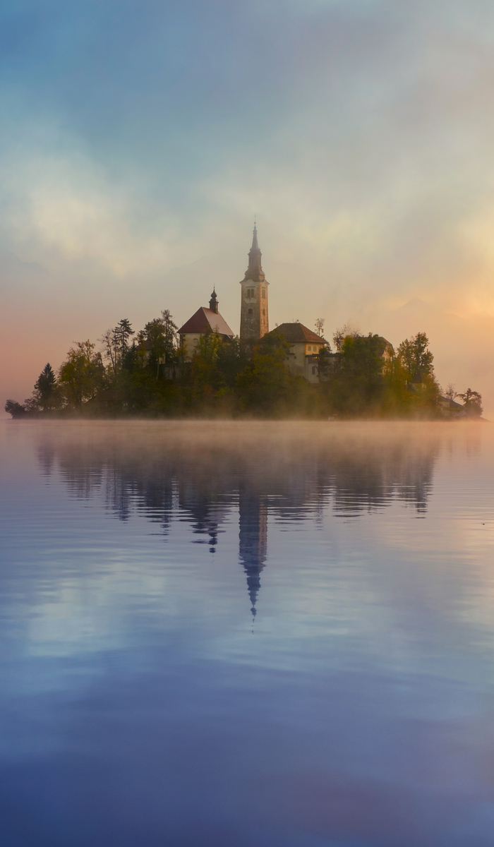 Misty sunrise to lake Bled, Slovenia
