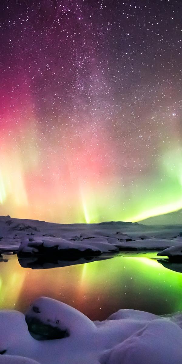 Aurora, Jokulsarlon lagoon, Iceland