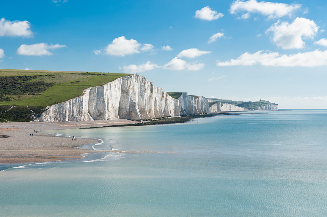 Seven Sisters National park, white cliffs, England