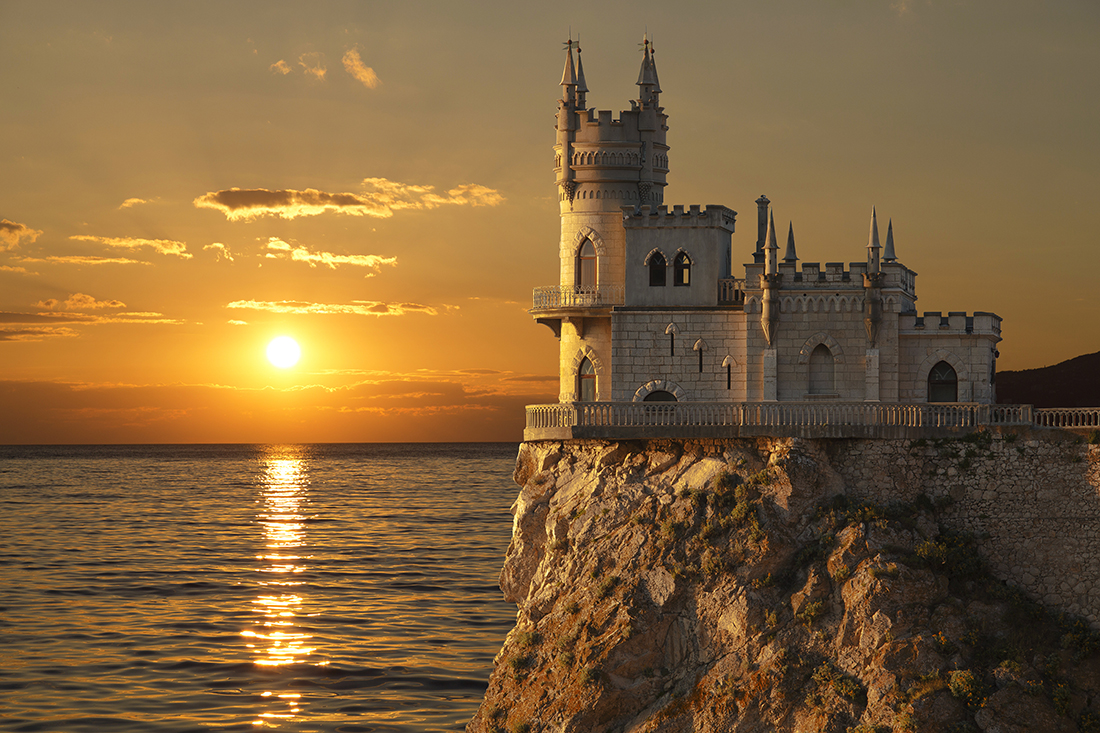 Swallow's Nest castle on the rock, Gaspra, Crimea, Russia