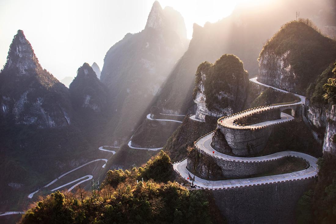 Winding road, Hunan province, China