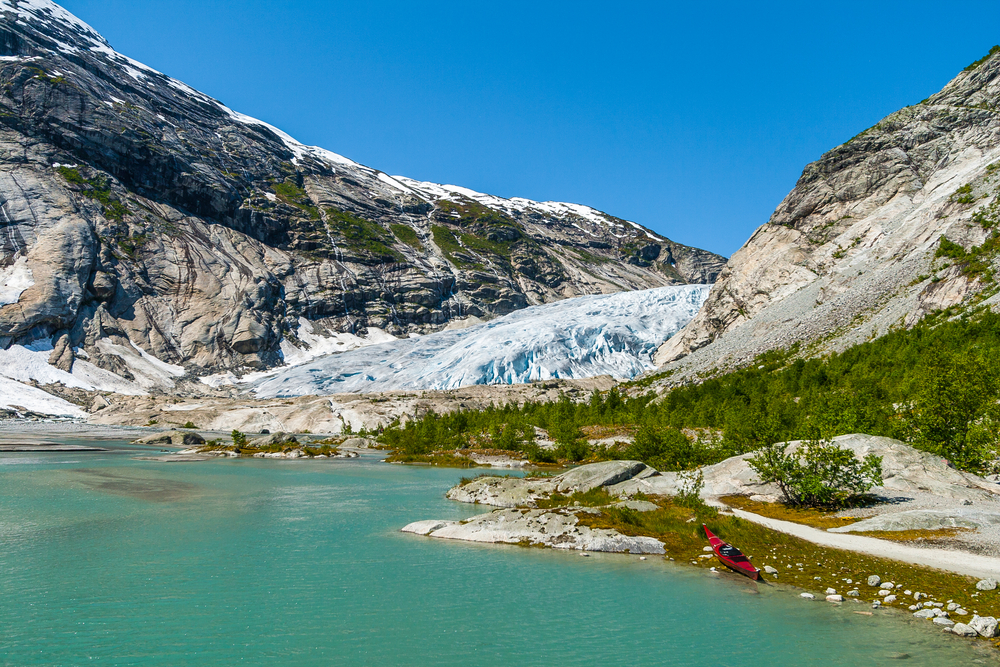 Lake and Nigardsbreen glacier, Jostedalsbreen National Park, Norway