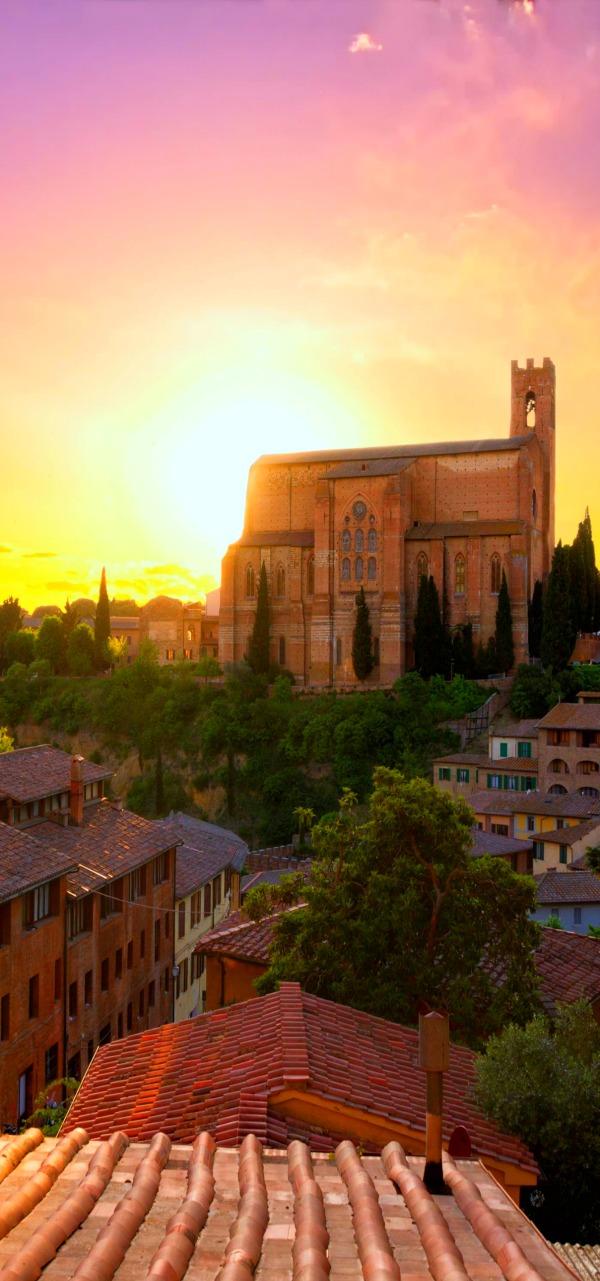 Siena with San Domenico, Tuscany, Italy