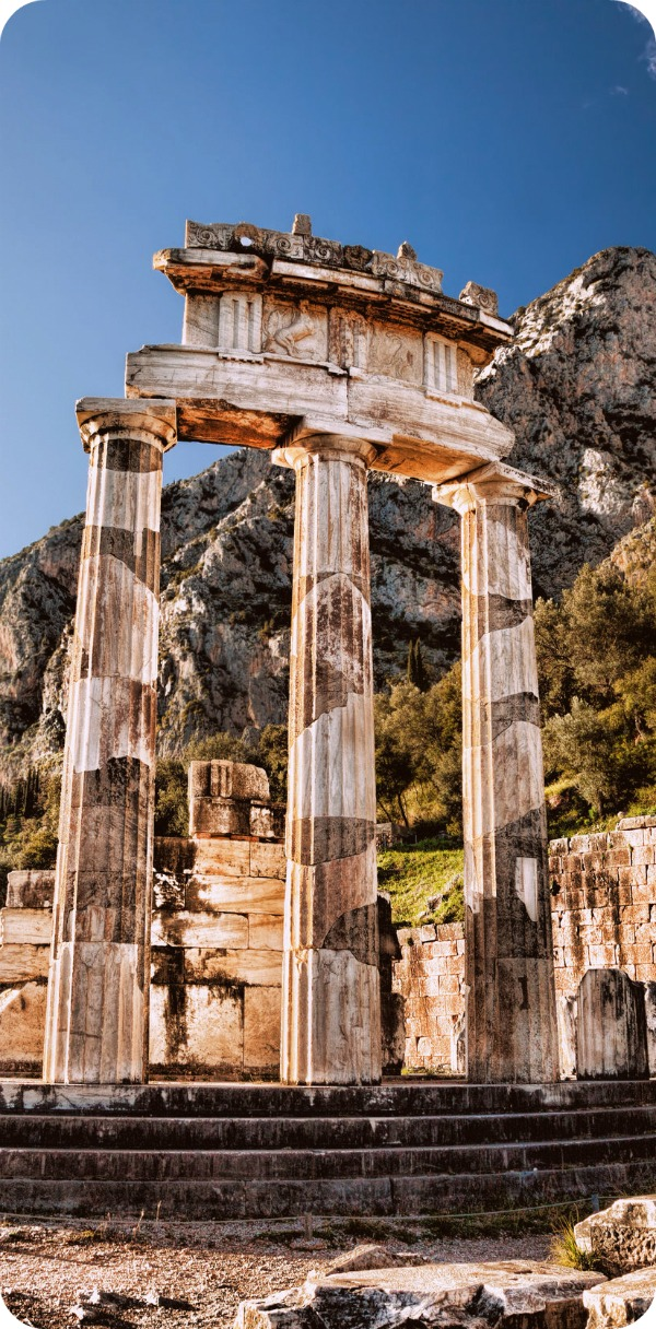 Delphi with ruins of the Temple, Greece