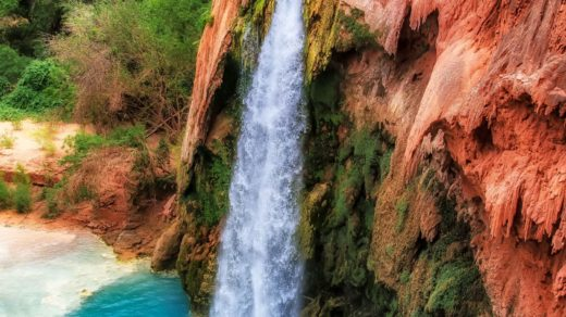 Falls Havasu in rocks , Havasu Falls, Grand Canyon, Arizona, USA-min